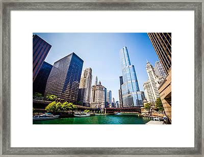 Picture Of Chicago Skyline At Michigan Avenue Bridge Framed Print by Paul Velgos