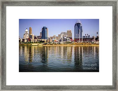 Picture Of Cincinnati Skyline And Ohio River Framed Print by Paul Velgos