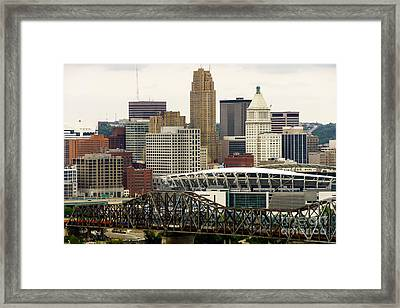 Picture Of Cincinnati Skyline Office Buildings  Framed Print