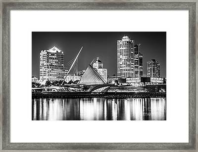 Picture Of Milwaukee Skyline At Night In Black And White Framed Print