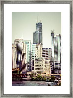 Picture Of Vintage Chicago With Sears Willis Tower Framed Print by Paul Velgos