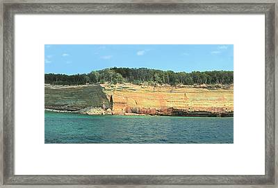 Pictured Rocks Sunlight And Shadows Panorama Framed Print