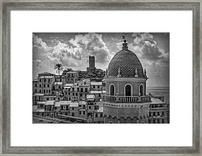 Picturesque Cinque Terre B/w Framed Print