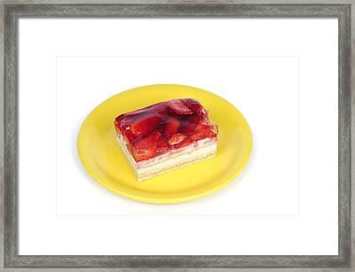 Piece Of Strawberry Cake Framed Print by Matthias Hauser