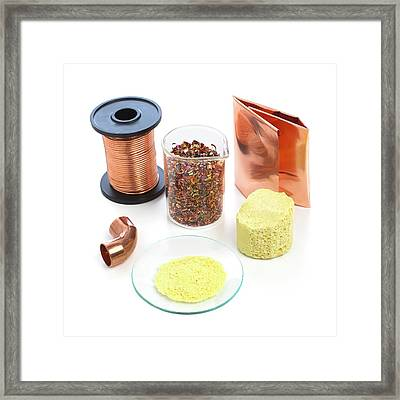 Pieces Of Copper And Sulphur Framed Print by Science Photo Library