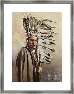 Piegan Warrior With Coup Stick Framed Print
