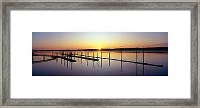 Pier And Pacific At Sunset, Oregon Framed Print by Panoramic Images