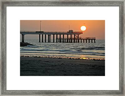 Pier At Dawn Framed Print