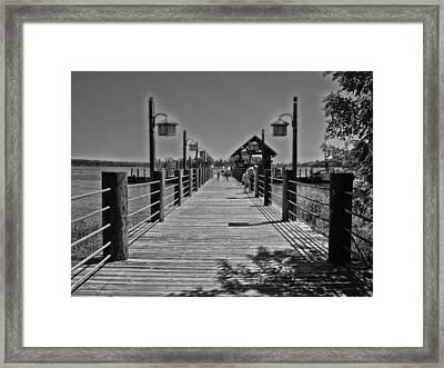 Pier At Fort Wilderness In Black And White Walt Disney World Framed Print