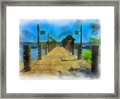 Pier At Fort Wilderness Wdw Photo Art 01 Framed Print