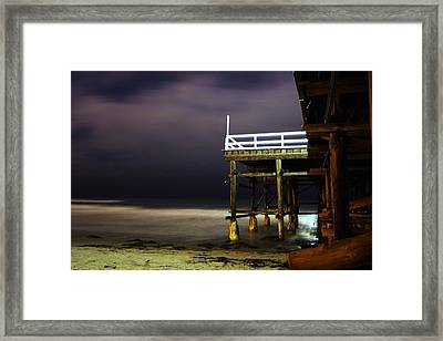 Pier At Night - 2 Framed Print by Carrie Warlaumont