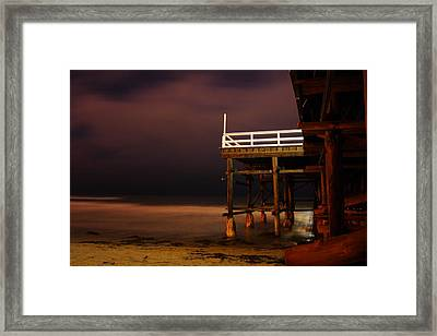 Pier At Night Framed Print by Carrie Warlaumont
