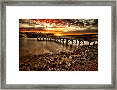Pier At Smith Mountain Lake Framed Print