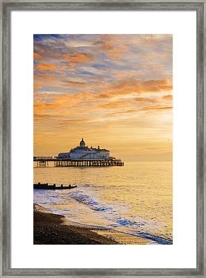 Pier At Sunrise Framed Print