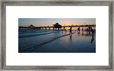 Pier At Sunset, Fort Myers Beach Framed Print