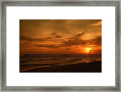 Pier At Sunset Framed Print by Sandy Keeton