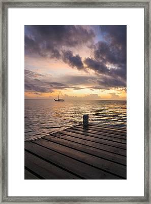 Pier At Sunset Vertical  Framed Print