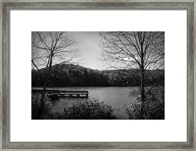 Pier At Table Rock In Black And White Framed Print