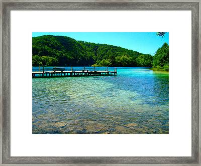 Pier At The Plitvice Lakes Framed Print
