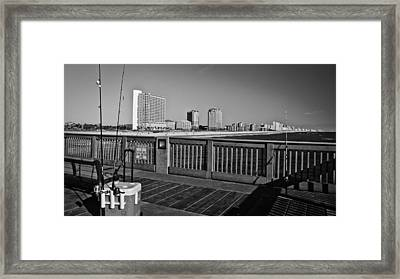 Pier Fishing Framed Print