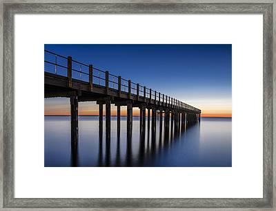 Pier In Blue Framed Print