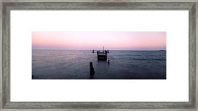 Pier In The Atlantic Ocean, Dilapidated Framed Print