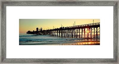 Pier In The Ocean At Sunset, Oceanside Framed Print