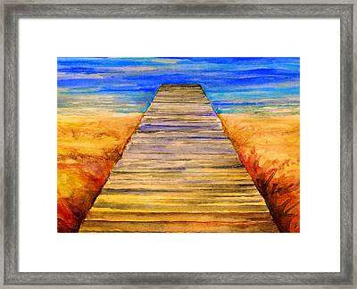 Pier Into Blue Framed Print by Stephen Anderson