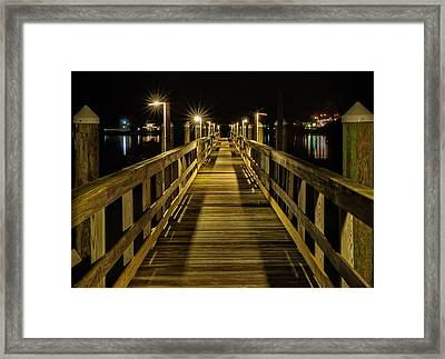 Pier Into The Night Framed Print