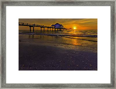 Pier Into The Sun Framed Print