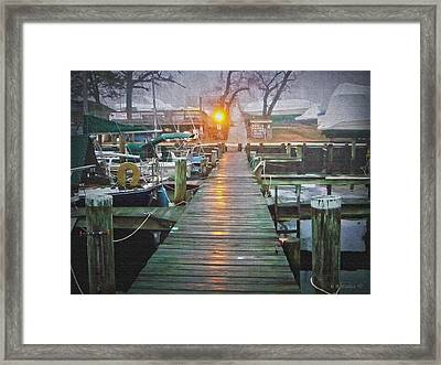 Pier Light - Oil Paint Effect Framed Print by Brian Wallace