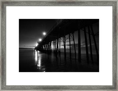 Pier Lights - Black And White Framed Print by Peter Tellone