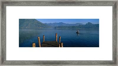Pier On A Lake, Santiago, Lake Atitlan Framed Print by Panoramic Images