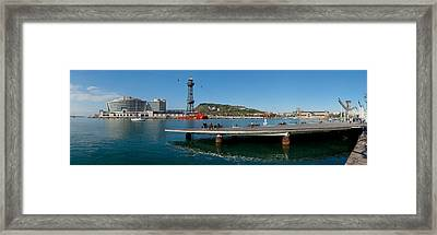 Pier On The Sea With World Trade Centre Framed Print