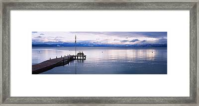 Pier On The Water, Lake Tahoe Framed Print by Panoramic Images
