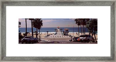 Pier Over An Ocean, Manhattan Beach Framed Print by Panoramic Images