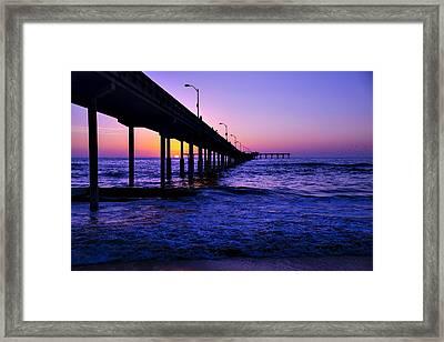 Pier Sunset Ocean Beach Framed Print