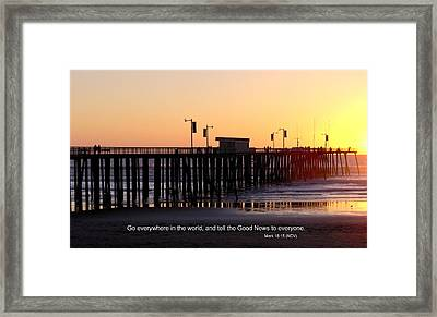 Pier Sunset W/scripture Framed Print