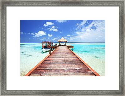 Pier To Tropical Sea In The Maldives - Indian Ocean Framed Print