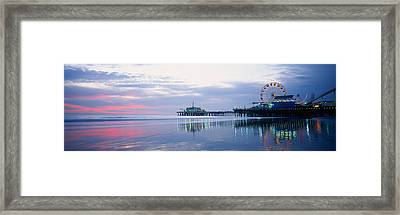 Pier With A Ferris Wheel, Santa Monica Framed Print by Panoramic Images