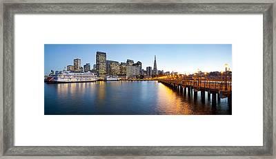 Pier With City At Sunset, Bay Bridge Framed Print