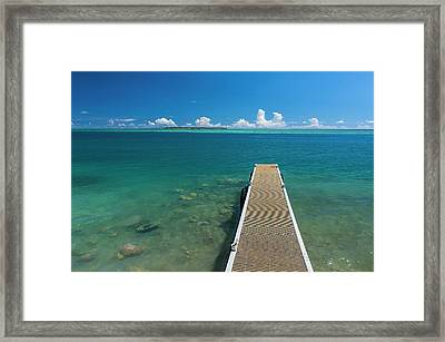 Pier With Cooks Island Framed Print