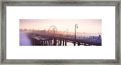 Pier With Ferris Wheel Framed Print
