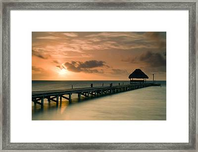 Pier With Palapa At Sunrise, Ambergris Framed Print by Panoramic Images