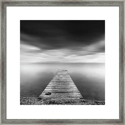 Pier With Slippers Framed Print