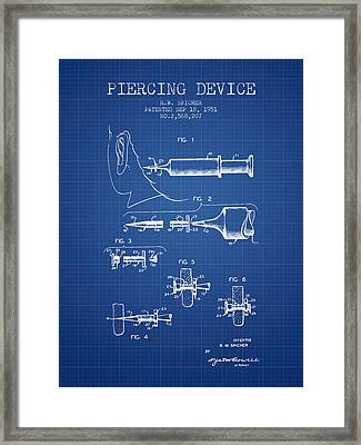 Piercing Device Patent From 1951 - Blueprint Framed Print by Aged Pixel