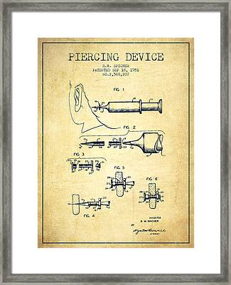 Piercing Device Patent From 1951 - Vintage Framed Print by Aged Pixel