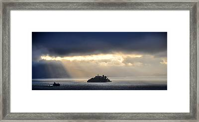 Piercing Through Darkness Light Shines On The Rock Framed Print