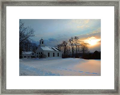 Piermont Church In Winter Light Framed Print by Nancy Griswold