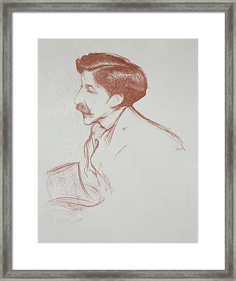 Pierre Louys From Tetes Et Pensees 1901 Framed Print by Henry Bataille